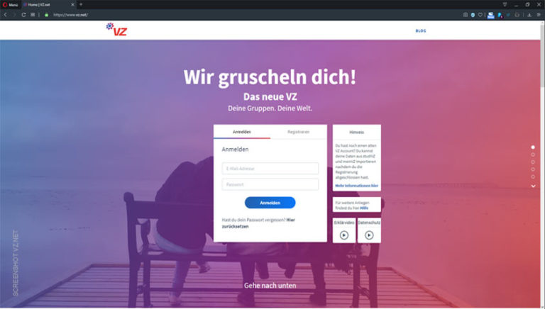 StudiVZ-Comback mit Gruscheln, Gruppen – Das VZ-Netzwerk ist unter VZ.net zurück
